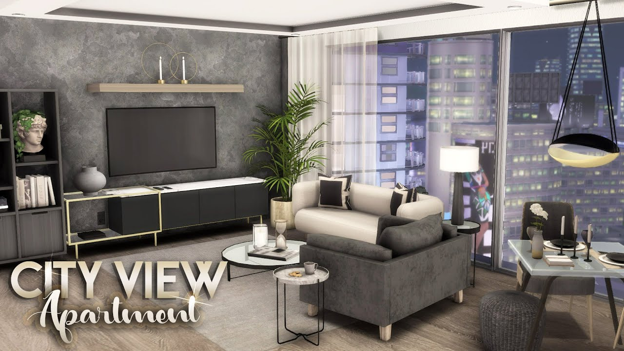 CITY VIEW APARTMENT + FULL CC LIST || The Sims 4: Apartment Speed Build