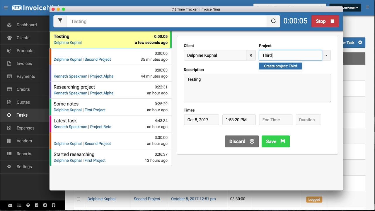 Invoice Ninja OpenSource Time Tracker YouTube - Open source invoice
