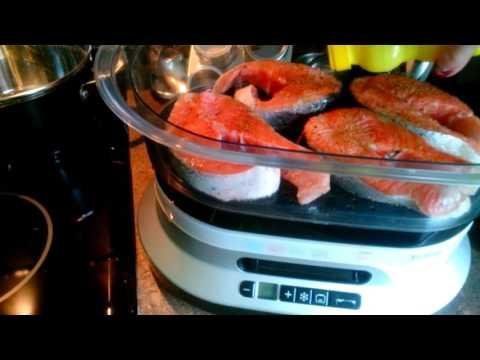 Рецепт Лосось с овощами в соусе терияки на пару на