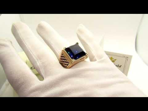 EliteGold - массивный мужской перстень в комбинированном золоте с камнем квадрат