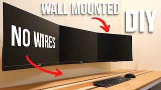 How To Wall Mount Triple Monitors & Awesome Cable Management! | DIY | Home Office Makeover Part 2