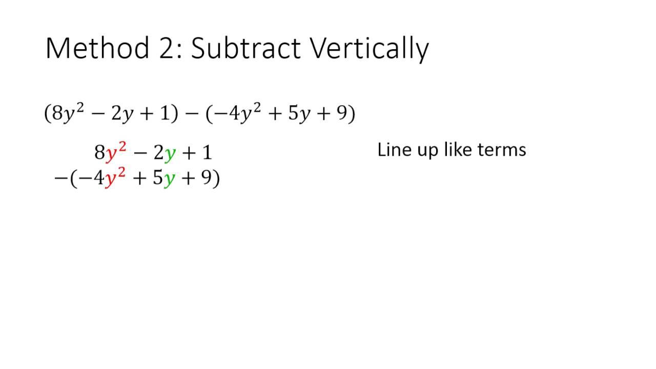 worksheet Subtracting Polynomials subtracting polynomials youtube polynomials