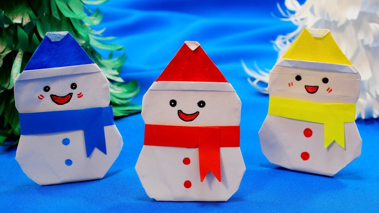 Простые Новогодние поделки / Снеговики из бумаги / 3 идеи на Новый год