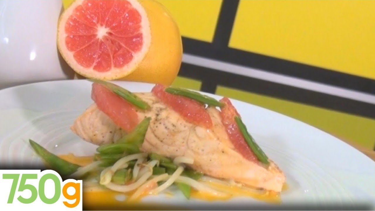 Recette de pav s de saumon poch s au pamplemousse 750 grammes youtube - Comment cuisiner un pave de saumon ...
