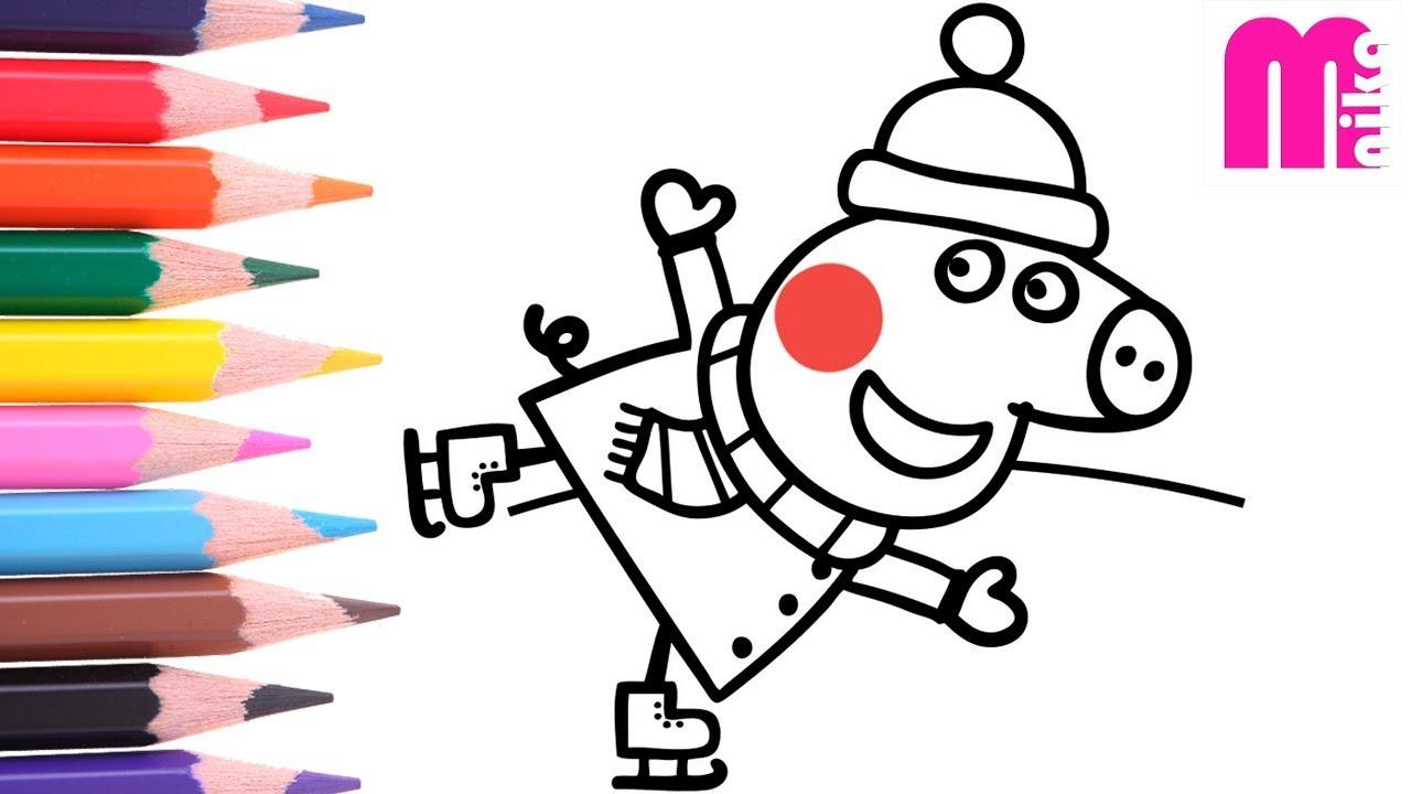 РАСКРАСКА для детей СВИНКА ПЕППА Как нарисовать ПЕППУ на ...