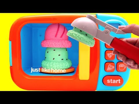 Thumbnail: Ice Cream Cones & Toy Microwave Playset for Children Learn Colors
