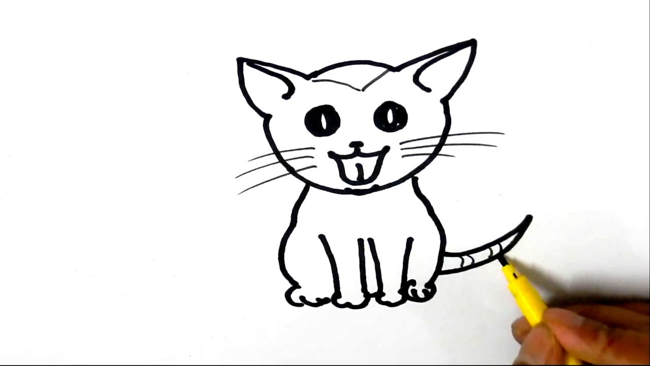 How to draw a Cute kitten in easy steps, for children ...