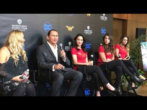 WB Hollywood Tours Wonder Woman Exhibit Eugene Brave Rock Talks Costume at Media Event 2017