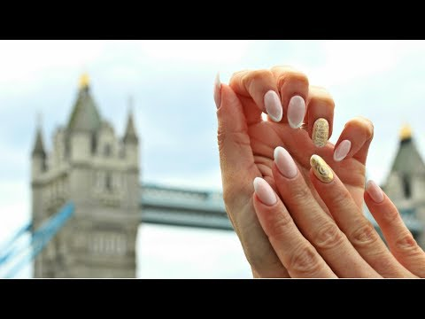 Ancient Greek Nail Art - Almond French Nail Design with gold details