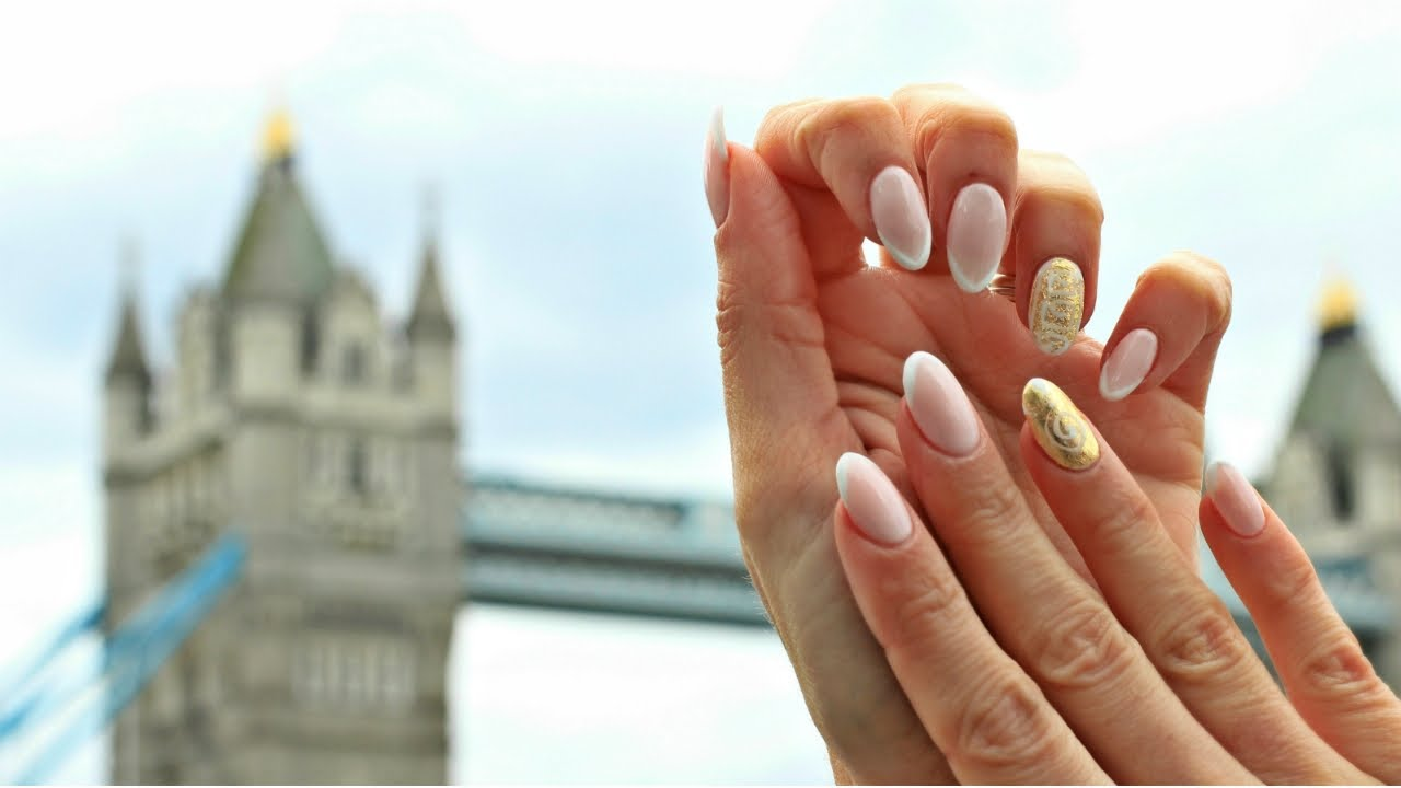 Ancient Greek Nail Art Almond French Nail Design With Gold Details