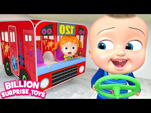 Wheels on the Bus Song Pretend Play - Kids Songs w/ Indoor Toys