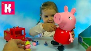 Свинка Пеппа гигант распаковка сюрпризов игрушки и пожарная машина Giant Peppa Pig toys