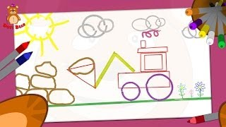 Doti Bear - learning shapes - How to draw a Tractor?