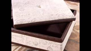 Corbett Leather And Linen Coffee Table Storage Ottoman; Square Table Ottomans