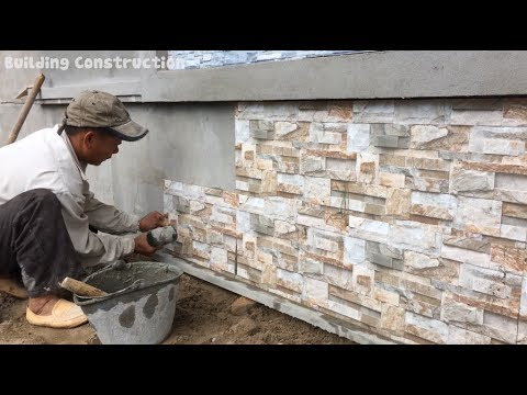 Amazing Techniques - How To Install Ceramic Tiles On The Foot Wall Of The House