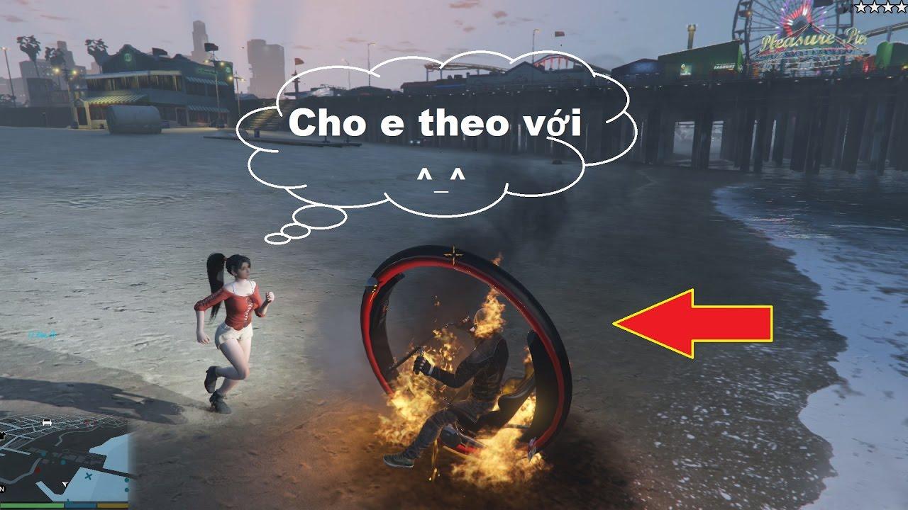 GTA 5 Mod - Ghost Rider kết hợp Monowheel, chở Ghệ đi chơi ^_^