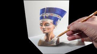 Drawing Nefertiti Illusion - 3D Anamorphosis on Paper - VamosART