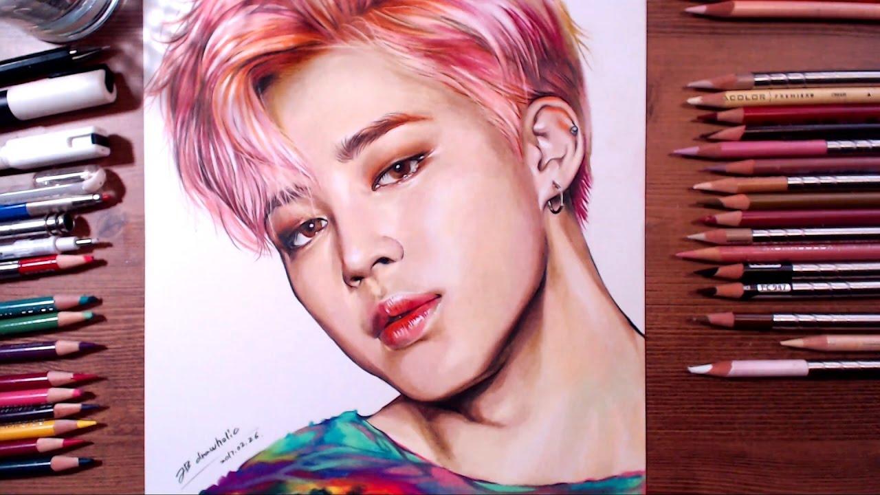 Bts Jimin Colored Pencil Drawing Drawholic Youtube