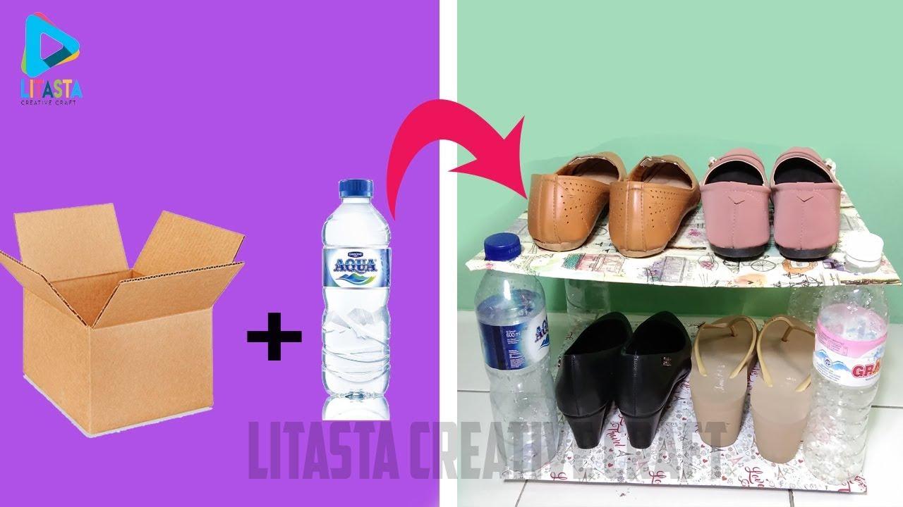 Ide Kreatif Membuat Rak Sepatu Dari Kardus Dan Botol Plastik Bekas