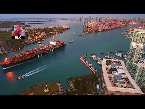 Port of Miami Time-lapse Ship Arrival & Departures - April 14, 2018