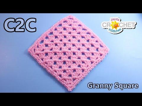 C2C Granny Square Crochet Tutorial