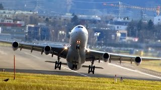 Crosswind landing & take-off / storm Felix in Zurich complete day-Sturmtief Christian