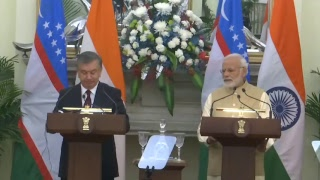 PM Modi with President of Uzbekistan Shavkat Mirziyoyev at a Joint Press Meet