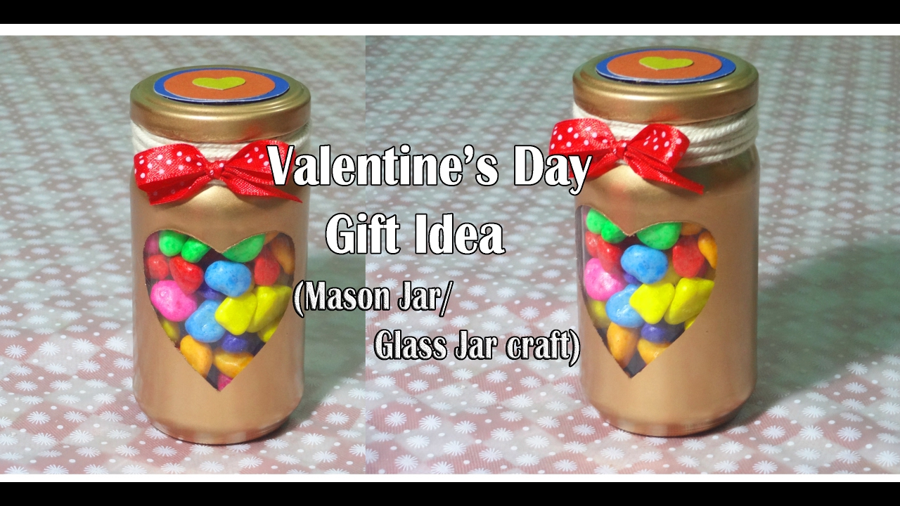Valentine S Day Gift Idea Mason Jar Glass Jar Craft Youtube