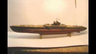 Ito Japanese 27in Toy Wood Submarine Restored By R-c Craft.com.
