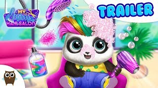 Panda Lu Goes to My Animal Hair Salon! Crazy Styles & Colors | TutoTOONS Cartoons & Games for Kids