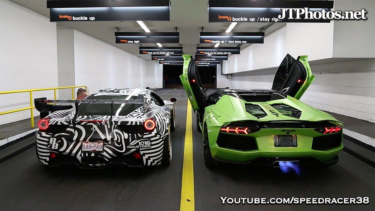 Ferrari vs Lamborghini shooting flames compeion - YouTube