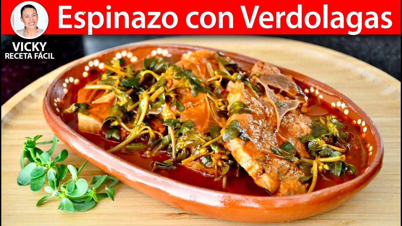 ESPINAZO CON VERDOLAGAS | Vicky Receta Facil