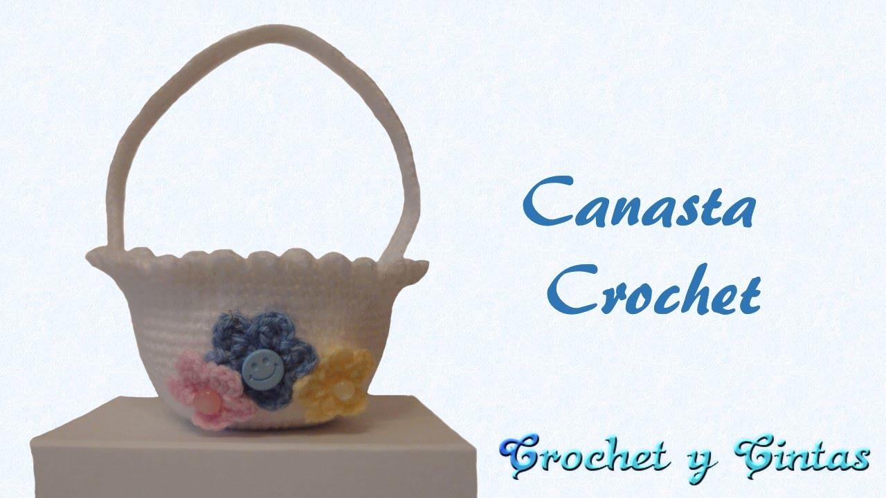 Canasta tejida a crochet (ganchillo) - YouTube