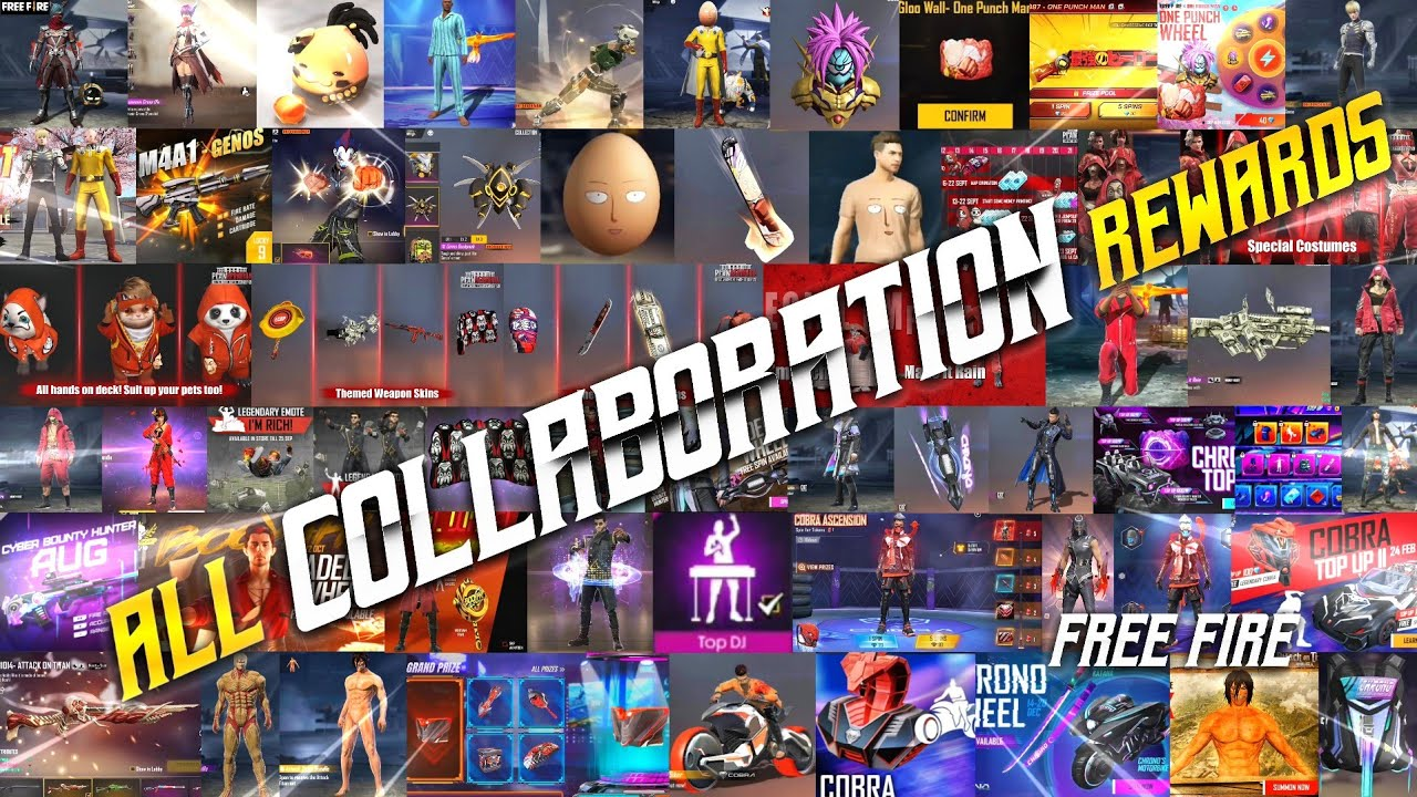 ALL COLLABORATION REWARDS FREE FIRE   ALL COLLABORATION BUNDLES   FREE FIRE ALL COLLABORATIONS   TSK