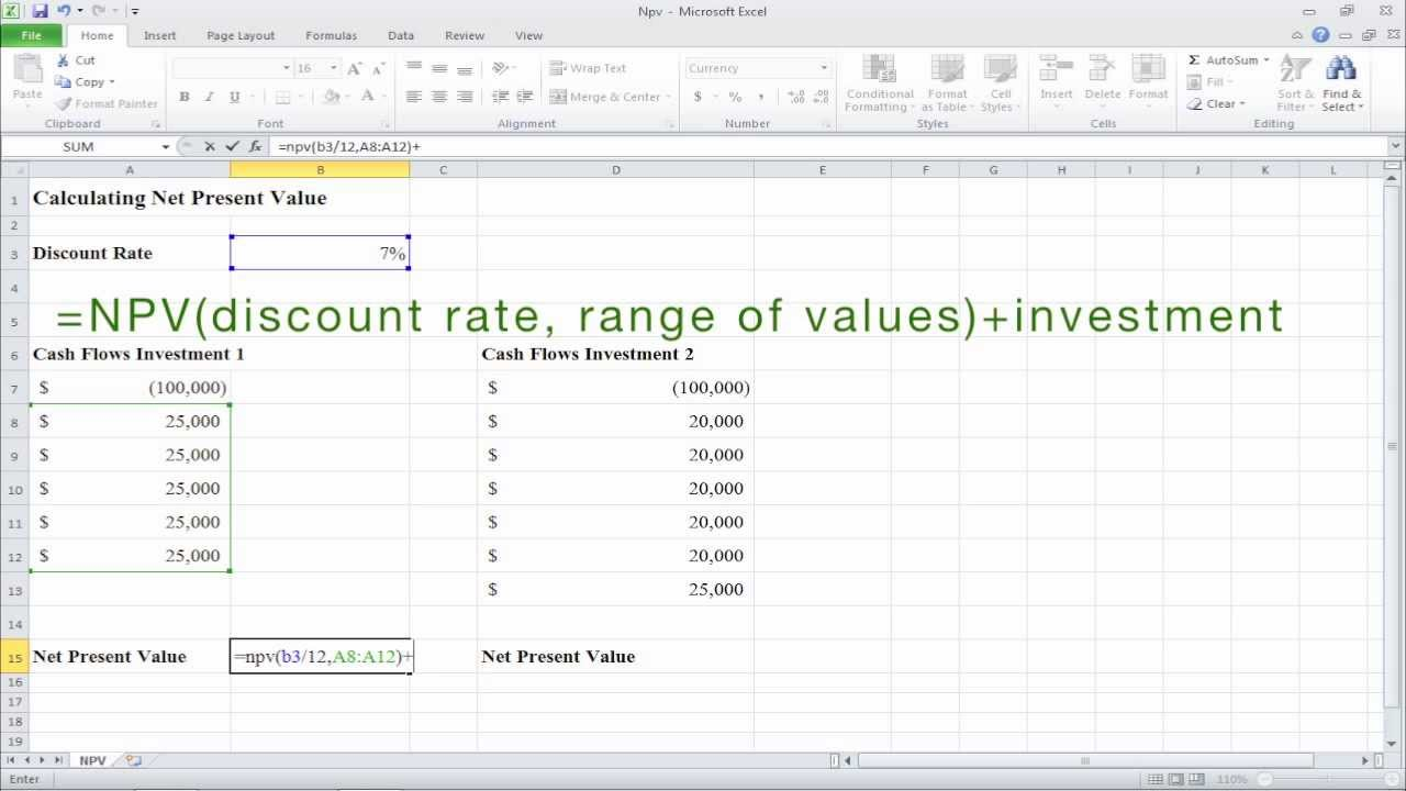 How To Calculate Net Present Value Npv In Excel Youtube