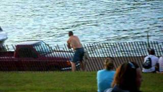 drunk guy/car in water at xfest 2010