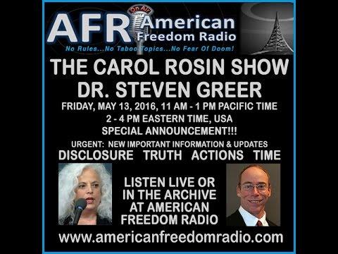 URGENT UPDATE! May 13, 2016 - Carol Rosin with Dr. Steve Greer