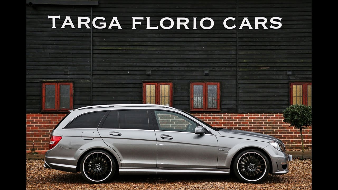 mercedes c63 amg estate 6 2 v8 automatic in palladium grey with black leather youtube. Black Bedroom Furniture Sets. Home Design Ideas
