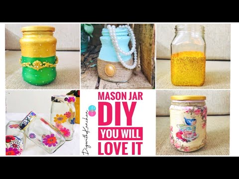 Mason Jar DIY | Easy Mason Jar Crafts | Best Use Of Waste Jar Craft Ideas
