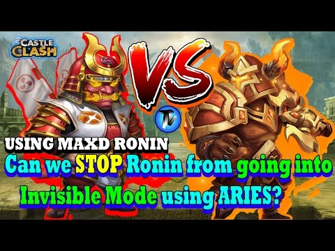 Castle Clash - RONIN VS ARIES!!! Can We STOP Ronin From Going Into Invisible Mode Using ARIES?