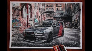 MITSUBISHI EVO 10 DRAWING (Detailed REALISTIC JDM Car Drawing | Orhan Özvatan)
