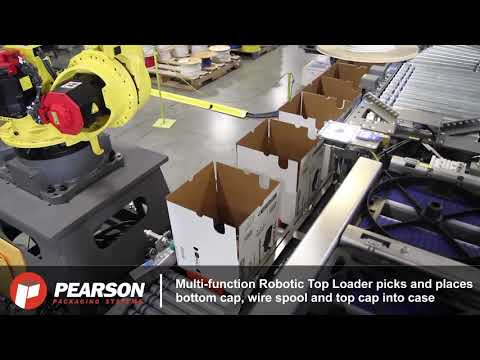 Robotic System Erects, Packs, Seals & Palletizes Wire Spools - Pearson Packaging Systems
