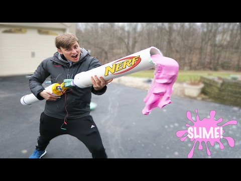 Thumbnail: NERF SLIME CANNON - how to make glitter slime (diy slime easy)