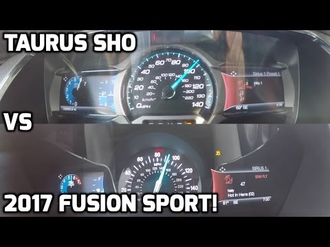 2017 Ford Fusion Sport VS Ford Taurus SHO!  0-60 MPH / 0-100 MPH Race! Which is quicker ?