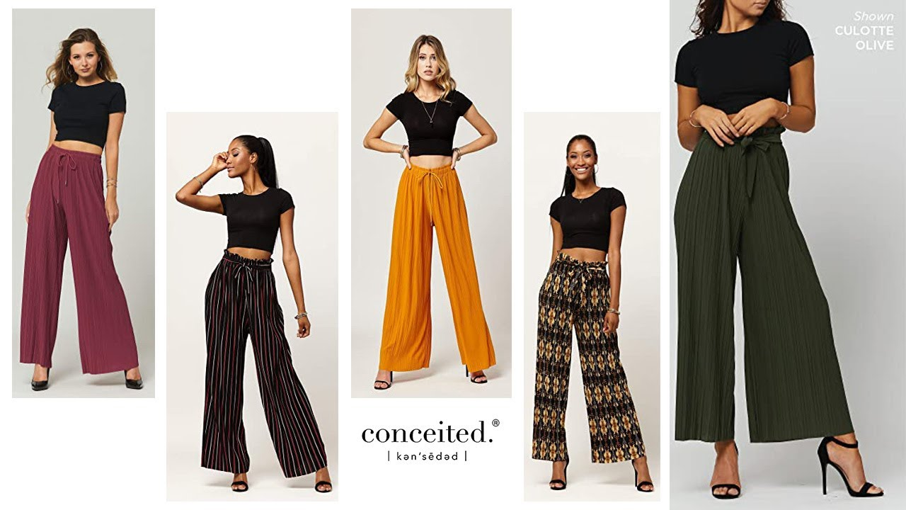 Premium Stretch Palazzo Pants for Women: Conceited High Waisted Micro Pleated Palazzo Pants