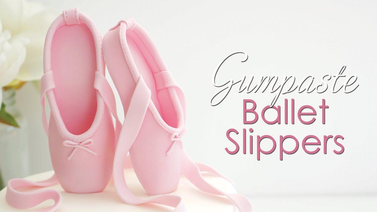 c6de30757062 How to make Gumpaste   Fondant Ballet Slippers Cake Topper - YouTube