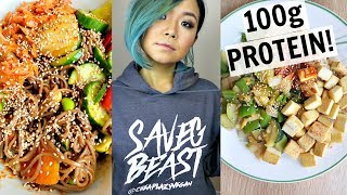 HIGH PROTEIN VEGAN RECIPES (100g protein!) /  WHAT I ATE IN A DAY