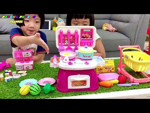 đồ chơi nấu ăn nhỏ có chú ngựa pony & bộ bếp to có xe đẩy siêu thị, chơi nấu đồ ăn cho búp bê