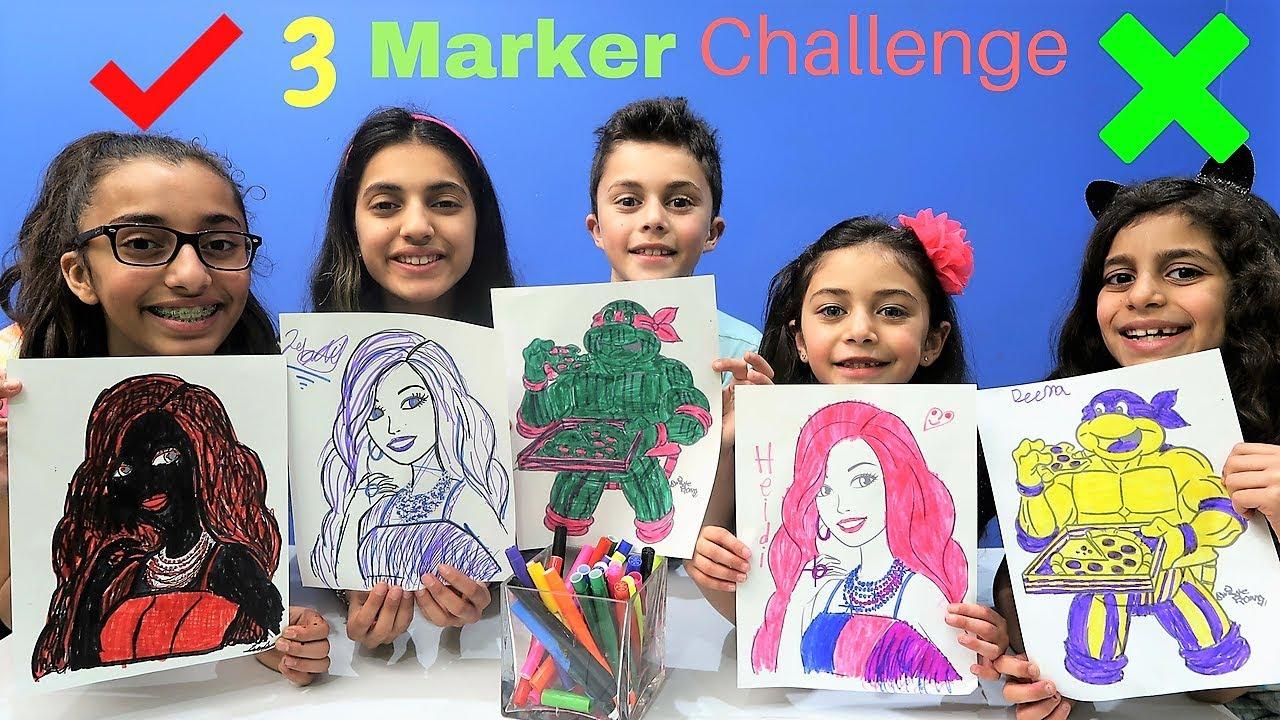 3 Marker Challenge With Barbie And Ninja Turtles Youtube