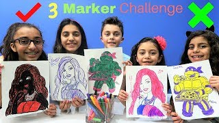 3 MARKER CHALLENGE With Barbie and Ninja Turtles!!!